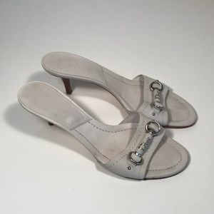 Dior White Leather Bit Accent Sandals Women 39.5